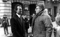 SCROOGED, Bill Murray, Director Richard Donner on set, 1988. (c) Paramount Pictures.