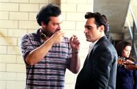 WALK THE LINE, James Mangold (director), Joaquin Phoenix, on set, 2005, TM & Copyright (c) 20th Century Fox Film Corp. All rights reserved.