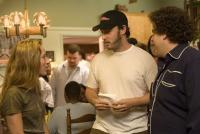 SUPERBAD, producer Shauna Robertson, writer Evan Goldberg, Jonah Hill, on set, 2007. ©Columbia Pictures