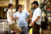 SUPERBAD, Michael Cera, Jonah Hill, writer Evan Goldberg, on set, 2007. ©Columbia Pictures