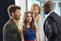 SEARCH PARTY, from left: Adam Pally, Shannon Woodward, T.J. Miller, Lance Reddick, 2015. ph: Richard Cartwright/© Focus World