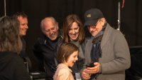 THE BFG, producer Frank Marshall (center left), Executive producer Kathleen Kennedy (center), Ruby Barnhill (front), director Steven Spielberg (right), on set, 2016. ph: Doane Gregory/© Walt Disney Studios Motion Pictures