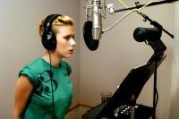 THE SPONGEBOB SQUAREPANTS MOVIE, Scarlett Johansson recording the voice of Mindy, 2004, (c) Paramount