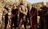 THE SCORPION KING, Grant Heslov (second from left), The Rock (aka Dwayne Johnson in center), Kelly Hu (second from left), Bernard Hill (far right), 2002, ©Universal Pictures