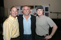 RATATOUILLE, producer Brad Lewis, John Ratzenberger, director Brad Bird, on set, 2007. ©Walt Disney Co.