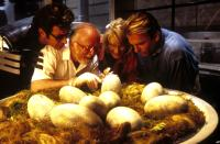 JURASSIC PARK, Jeff Goldblum, Richard Attenborough, Laura Dern, Sam Neill, 1993, (c) Universal