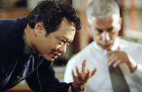 THE HULK, Director Ang Lee, Sam Elliott on the set, 2003, (c) Universal