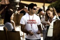 HOSTEL: PART II, Lauren German, director Eli Roth (right),  Bijou Phillips, on set, 2007. ©Lions Gate