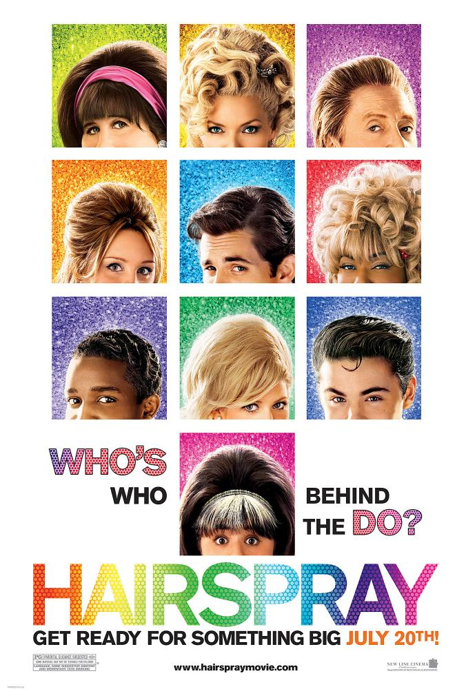 HAIRSPRAY, top row: John Travolta, Michelle Pfeiffer, Christopher Walken, second row: Amanda Bynes, James Marsden, Queen Latifah, third row: Elijah Kelley, Brittany Snow, Zac Efron, bottom row: Nikki Blonsky, 2007. ©New Line