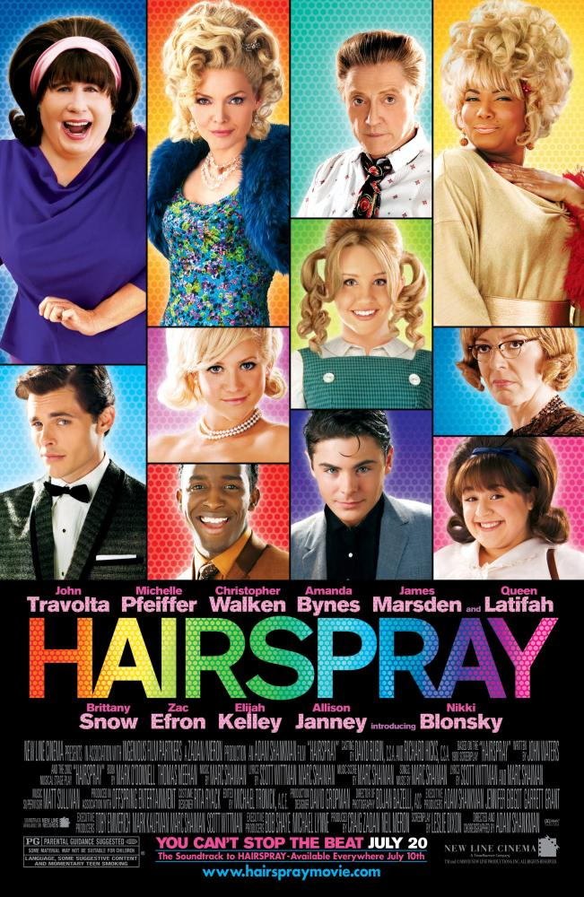 HAIRSPRAY, top row: John Travolta, Michelle Pfeiffer, Christopher Walken, Queen Latifah, middle row, from center: Brittany Snow, Amanda Bynes, Allison Janney, bottom row: James Marsden, Elijah Kelley, Zac Efron, Nikki Blonsky, 2007. ©New Line