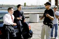 HARSH TIMES, Christian Bale, Freddy Rodríguez, director David Ayer, on set, 2006. ©Bauer Martinez Films