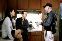 HARSH TIMES, Eva Longoria, Freddy Rodríguez, director David Ayer, on set, 2006. ©Bauer Martinez Films
