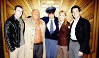 FANTASTIC FOUR, Chris Evans, Michael Chiklis, Stan Lee, Jessica Alba, Ioan Gruffudd on set, 2005, TM & Copyright (c) 20th Century Fox Film Corp. All rights reserved.