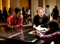 DREAMGIRLS, Eddie Murphy (left), director Bill Condon (center), on set, 2006. ©DreamWorks
