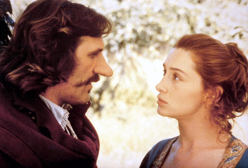 CYRANO DE BERGERAC, from left: Gerard Depardieu as Cyrano, Anne Brochet as Roxane, 1990. ©Orion Classics