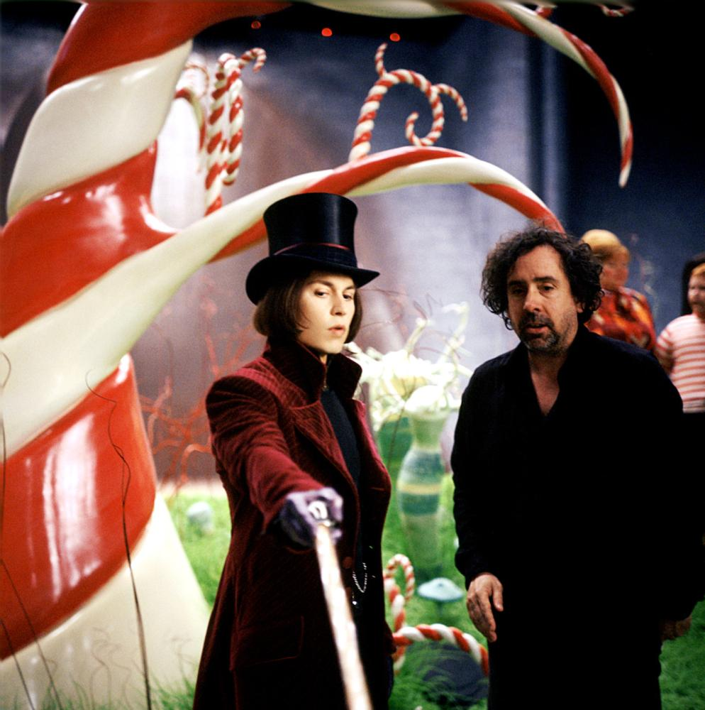 com charlie and the chocolate factory charlie and the chocolate factory johnny depp director tim burton on set 2005
