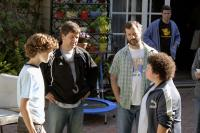 "Nate Hartley, Steven Brill, Judd Apatow and Troy Gentile on the set of ""Drillbit Taylor"""