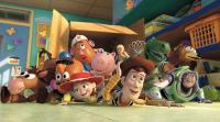 TOY STORY 3, Mr. Potato Head (second from left, voice: Don Rickles), Jessie (left of center, voice: Joan Cusack), Woody (right of center, voice: Tom Hanks), Buzz Lightyear (front right, voice: Tim Allen), 2010. ©Buena Vista Pictures