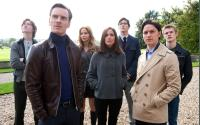 X-MEN: FIRST CLASS, l-r: Caleb Landry Jones, Michael Fassbender, Jennifer Lawrence, Rose Byrne, Nicholas Hoult, James McAvoy, Lucas Till, 2011, ph: Murray Close/TM and Copyright ©20th Century Fox Film Corp. All rights reserved.