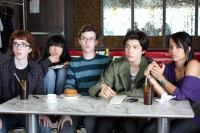 BEWARE THE GONZO, from left: Edward Gelbinovich, Stefanie Y. Hong, Griffin Newman, Ezra Miller, Zoe Kravitz, 2010. ph: Sophia Zahariou