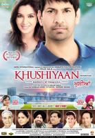 KHUSHIYAAN, international poster art in English, top from left: Tisca Chopra, Jasbir Jassi; singer cameos over cityscape: Ankita Shorey, Gurpreet Ghuggi; bottom from left: Kulbhushan Kharbanda, Rama Vij, Deep Dhillon, Vivek Shauq, Shrey Bawa, Tirlok Malik,