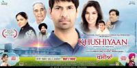 KHUSHIYAAN, international poster art in English, top from left: Rama Vij, Kulbhushan Kharbanda (top), Deep Dhillon, Jasbir Jassi, Tisca Chopra, Shrey Bawa, Vivek Shauq, singer cameos at bottom: Ankita Shorey, Gurpreet Ghuggi; 2011. ©Eros International