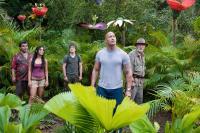 JOURNEY 2: THE MYSTERIOUS ISLAND, from left: Luis Guzman, Vanessa Hudgens, Josh Hutcherson, Dwayne Johnson, Michael Caine, 2012. ph: Ron Phillips/©Warner Bros. Pictures