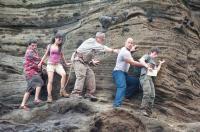 JOURNEY 2: THE MYSTERIOUS ISLAND, from left: Luis Guzman, Vanessa Hudgens, Michael Caine, Dwayne Johnson, Josh Hutcherson, 2012. ph: Ron Phillips/©Warner Bros. Pictures