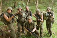 "Ben Stiller, Robert Downey Jr., Nick Nolte, Jack Black, Brandon T. Jackson and Jay Baruchel in ""Tropic Thunder"""