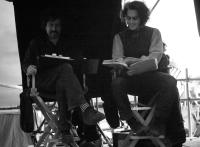 "Tim Burton and Johnny Depp on the set of ""Sweeney Todd: The Demon Barber of Fleet Street"""