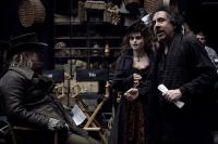 "Timothy Spall, Helena Bonham Carter and Tim Burton on the set of ""Sweeney Todd: The Demon Barber of Fleet Street"""
