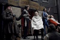 "Timothy Spall, Johnny Depp and Sacha Baron Cohen in ""Sweeney Todd: The Demon Barber of Fleet Street"""
