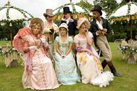 AUSTENLAND, from left: Jennifer Coolidge, James Callis, Keri Russell, JJ Feild, Georgia King, Ricky Whittle, 2013. ©Sony Pictures Classics