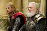 THOR: THE DARK WORLD, from left: Chris Hemsworth as Thor, Anthony Hopkins, as Odin, 2013. ph: Jay Maidment/©Walt Disney Studios