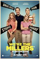 WE'RE THE MILLERS, l-r: Jennifer Aniston, Jason Sudeikis, Emma Roberts, Will Poulter on US advance poster, 2013, ©Warner Bros. Pictures
