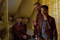 AFTER EARTH, front, from left: Kristofer Hivju, Jaden Smith, 2013. ph: Frank Masi/©Sony Pictures