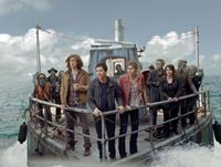 PERCY JACKSON: SEA OF MONSTERS, foreground from left: Douglas Smith (plaid shirt), Logan Lerman, Alexandra Daddario, Leven Rambin (right, both hands on the railing), 2013. TM & copyright ©20th Century Fox Film Corp. All rights reserved