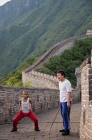 "Jaden Smith as ""Dre"" and Jackie Chan as ""Mr. Han"" on the Great Wall of China in Columbia Pictures' KARATE KID."