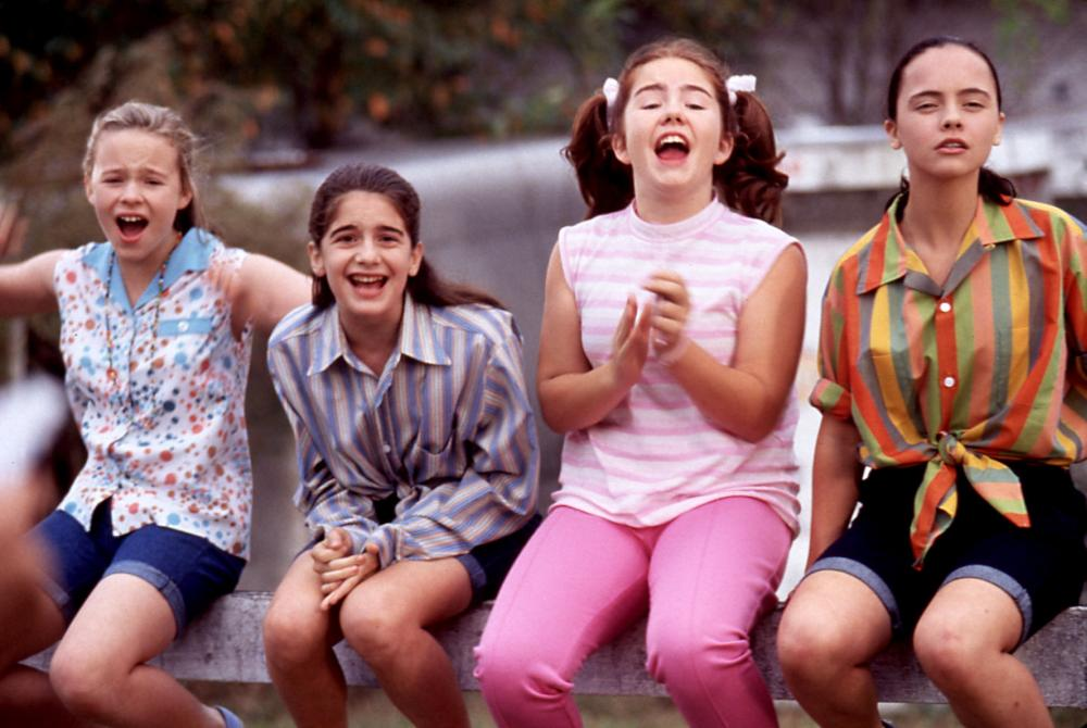 NOW AND THEN, Thora Birch, Gaby Hoffman, Ashleigh Aston Moore, Christina Ricci, 1995, excited