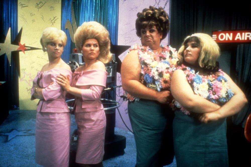 HAIRSPRAY, Colleen Fitzpatrick, Debbie Harry, Divine, Ricki Lake, 1988, television studio