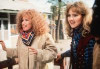 OUTRAGEOUS FORTUNE, Bette Midler, Shelley Long, 1987, wearing false mustaches