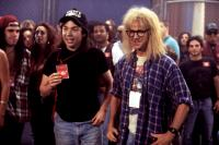 WAYNE'S WORLD 2, Mike Myers, Dana Carvey, 1993, showing backstage pass