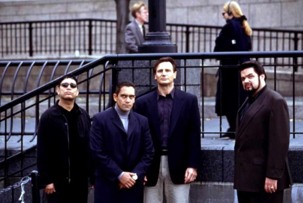 GUN SHY, Michael DeLorenzo, Jose Zuniga, Liam Neeson, Oliver Platt, 2000