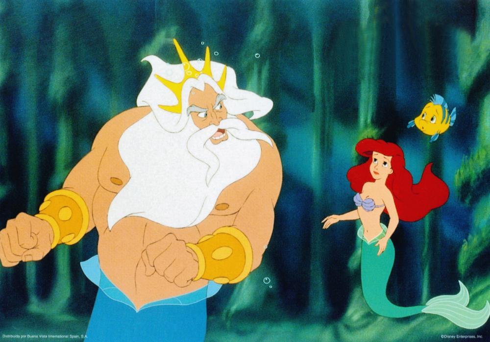 THE LITTLE MERMAID, from left: King Triton, Ariel, Flounder, 1989, © Walt Disney