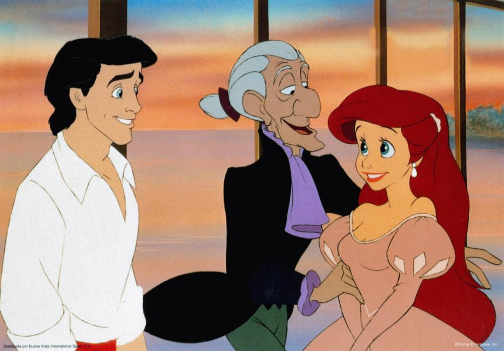 THE LITTLE MERMAID, from left: Prince Eric, Grimsby, Ariel, 1989, © Walt Disney