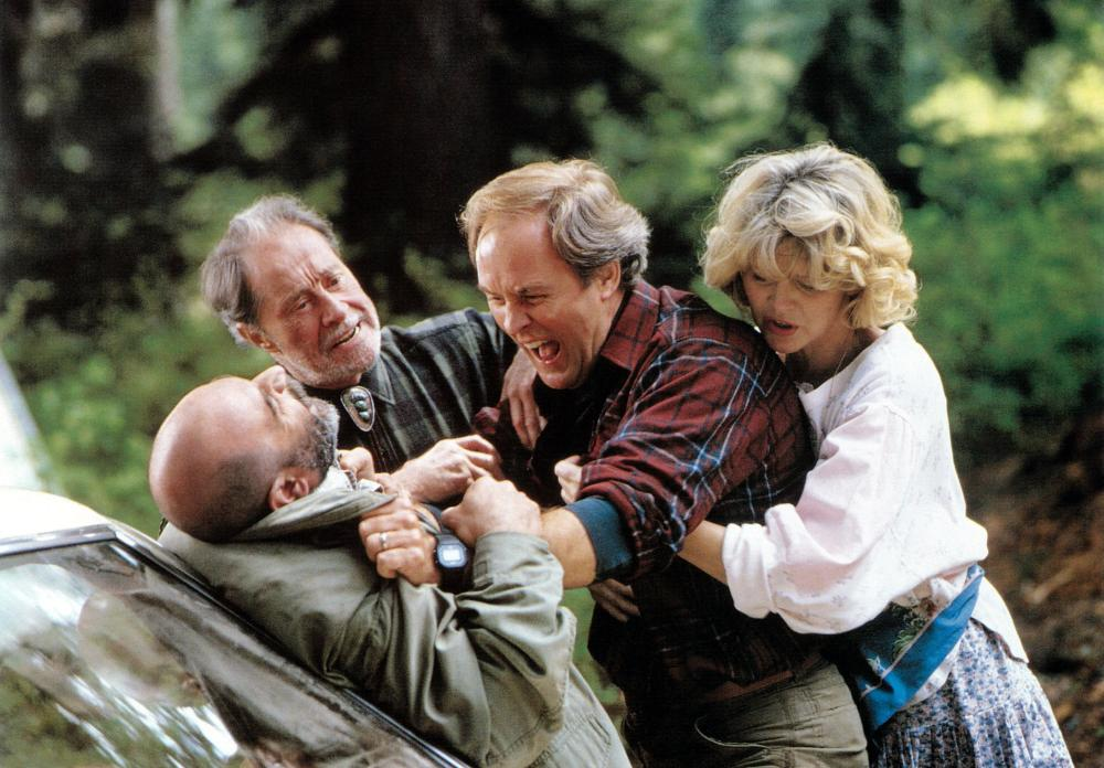 HARRY AND THE HENDERSONS, from left: David Suchet, Don Ameche, John Lithgow, Melinda Dillon,  1987. ©Universal