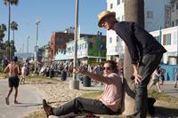 NIGHTCRAWLER, from left: Jake Gyllenhaal, director Dan Gilroy, on set, 2014. ph: Chuck Zlotnick/©Open Road Films