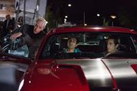 NIGHTCRAWLER, from left: director Dan Gilroy, Riz Ahmed, Jake Gyllenhaal, on set, 2014. ph: Chuck Zlotnick/©Open Road Films