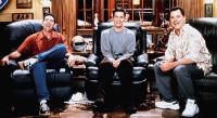 DOWN TO YOU, from left: Adam Carolla, Freddie Prinze Jr., Jimmy Kimmel, 2000, © Miramax